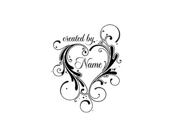 Handle Mounted or Cling Personalized Name custom made rubber stamps C19