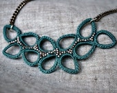 Jewelry Affaire - Leaves Crochet Necklace - Seafoam Green - Platinum Beads - As Seen In Jewelry Affaire Magazine Spring 2014 - MADE TO ORDER