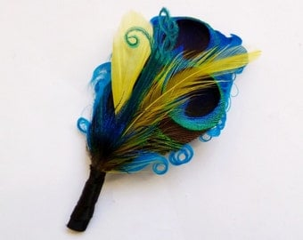 Peacock Feather Boutonniere or Lapel Pin - ELLIE on Turquoise with Yellow - customizable
