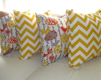 Yellow Outdoor Pillow  - Zig Zag Chevron Citrus Menagerie Citrus Yellow Outdoor Throw Pillow- Free Shipping
