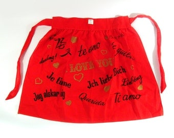 Vintage Apron 1950s I love you languages Deadstock Rhodes of Seattle Red Print