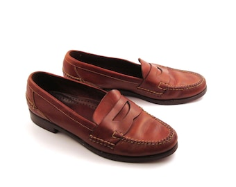Cole Haan Loafers Vintage 1980s Penny Brown Shoes Dress Handsewn Men's size 10 1/2