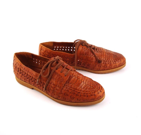Cherokee Oxford Shoes Vintage 1980s Woven Brown Lace Up  Leather Men's 7 1/2