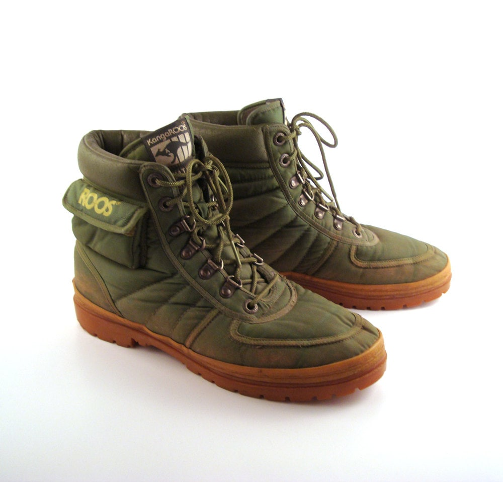 Roos Sneakers Shoes Vintage 1980s Kangaroos Army Green Hi Tops