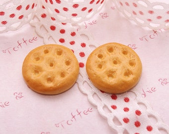 Sweets Deco Round Baked Biscuit Cabochon Set of 8pcs