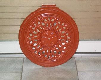 Antique ornate pumpkin orange enamel architectural cast iron stove pipe register heating grate