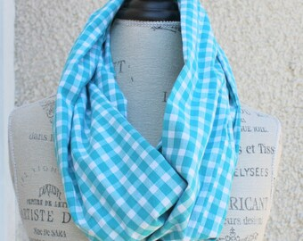 super soft turquoise and white check plaid infinity scarf