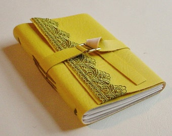 Vegan Faux Leather Journal/ Notebook-Yellow -  Birthday Gift Idea
