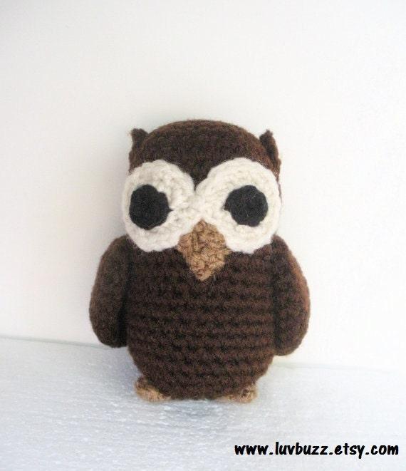 Small Plush Amigurumi Crochet Owl in Dark Brown, MADE TO ORDER.