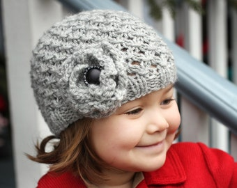 Girls Hat Knitting Pattern, PDF Knitting Pattern, Hat Pattern for Girl, Chunky Lace Hat Pattern, Hat with Flower, Child to Adult sizes - MIA