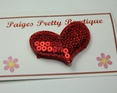 "1.5"" Red Sequin Heart Hair Clip-Toddler Hair Clip-Baby Hair Clip-Fine Hair Clip-Snap Clip"