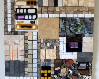 CLEARANCE SALE:  Mosaic, Mixed Media, Glass, Urban, City, Landscape