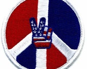 1960s-70s Hippie Peace Movement  TWO FINGER Red White and Blue Patch 3 inch