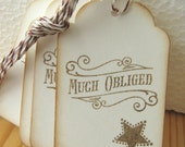 Thank You Tags, Much Obliged Gift Tags, Western Style Gift Tags