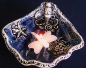 Seashell Goddess - Deep Cobalt Ceramic Altar Dish - Flower or Candle Floater, Water Blessing - Starfish, Octopus 8 Prosperity Symbolism