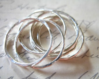 1 pc, 925 Sterling Silver Links Connectors Eternity Infinity Rings, 20 mm Hammered Circle, sjr20mm.v1 n200