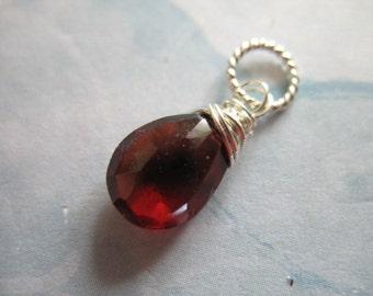 Shop Sale.. GARNET Pendant Charm Add a Dangle Drop, Pear, 18-20 mm, Gold Fill / 925 Sterling Silver, January birthstone gemdone gd95