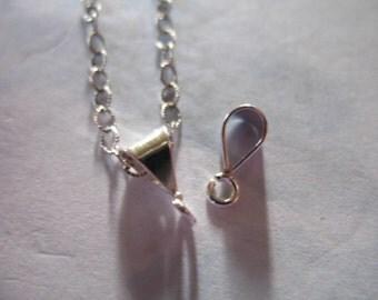 Shop Sale... 5 10 25 50 pcs, 925 Sterling Silver BAILS, Necklace Pendant Bails Bulk, 9x5  mm, simple basic wholesale bails hp