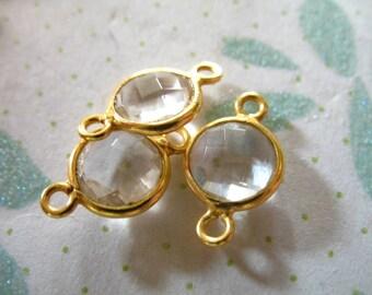 Shop Sale..  10 pcs, ROCK Crystal Quartz Bezel Gemstone Connector Link, 24k Gold Vermeil or Sterling, 8 mm, april birthstone sgc gcl10