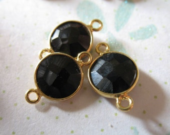 Shop Sale -  1 pc, Bezel Links Gemstone Connectors Links, Black Onyx, 24k Gold Vermeil, 15X9 mm, petite wholesale gcl10 gc ll