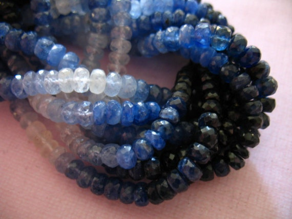 5 10 25 50 pcs, 3.5-4 mm SAPPHIRE Rondelles Beads, Luxe AAA, Faceted Shaded, white to medium to dark blues... september birthstone.. tr 34