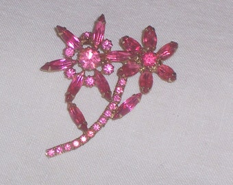 Vintage Flower Brooch with Pink Rhinestones