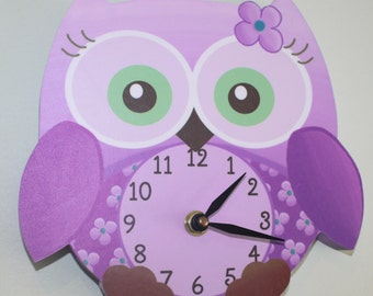 Purple Sweet Little Owl Wooden WALL CLOCK for Girls Bedroom Baby Nursery WC0009