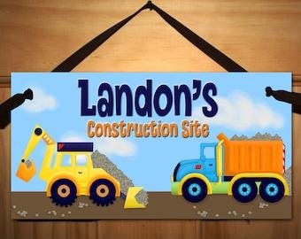 Bright Construction Truck Boys Bedroom Baby Nursery DOOR SIGN Wall Art DS0006