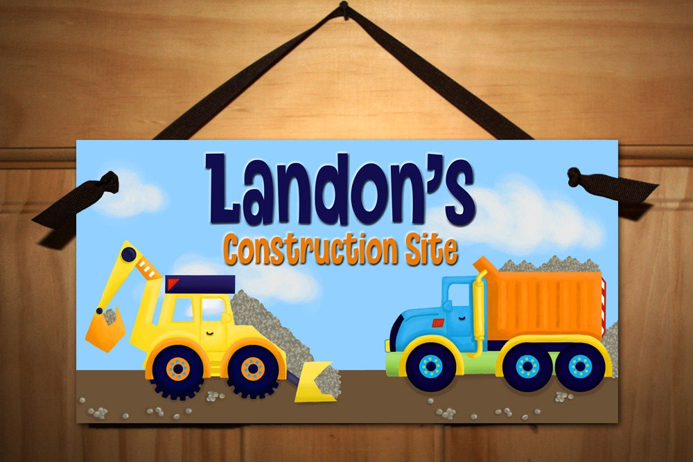 Bright construction truck boys bedroom baby nursery door sign for Signs for kids rooms