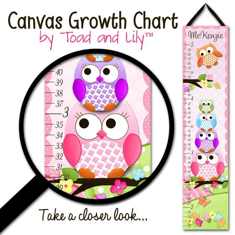 Canvas GROWTH CHART Stacked Owls Girls Kids Bedroom Baby