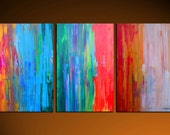 Large Original Modern Abstract Painting Contemporary Fine Art gallery Canvas Hand Painted Triptych Colorful Big by GINO SAVARINO