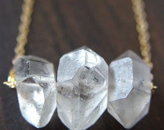 Herkimer Diamond Trio Necklace, 14k Gold Filled