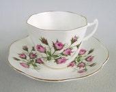 Vintage Pink Roses Teacup & Saucer Royal Kent England