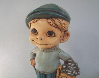 Vintage Ceramic Golfer Figurine Big Eye Large