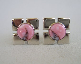 Vintage SiIver Cuff Links, Pink Rhodonite Cuff Links, Modern Cuff Links,Wedding Cuff Links, Groom Cuff Links, Gift For Guys, Unisex