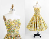 vintage 1950s dress / 50s dress / Yellow Leaf Print Strapless Cotton Party Dress