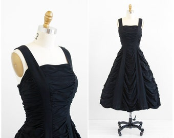 vintage 1950s dress / 50s dress / Black Rayon Ruched Party Dress