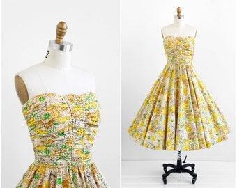 vintage 1950s dress / 50s dress / Yellow Leaf Print Strapless Cotton Party Dress