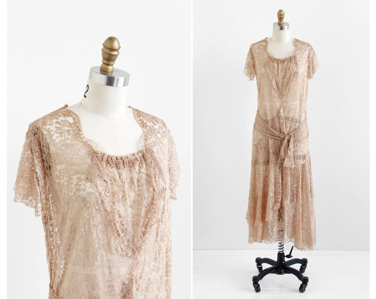 Vintage 1920s Dress 20s Dress Champagne Silk Lace Flapper