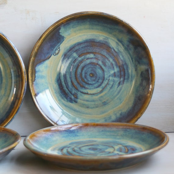 Ceramic Dinnerware Dishes Rustic Water Color Glaze By