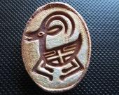 Running Mountain Goar Rock Art Petroglyph Pin Brooch