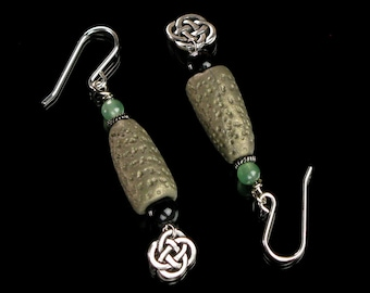 Unique Celtic Earrings, Polymer Clay Irish Earrings, Earthy Celtic Knot Jewelry, Unique Handmade Gift for Her, Unique Gift for Mom, Women