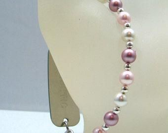 Rose Pink White Swarovski Pearl Beaded Medical ID Bracelet