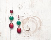 Red Rose & Emerald green dangle earrings - Bloom Collection by BeautySpot (E133)