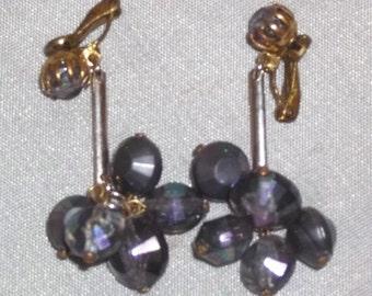 Vintage Gold Tone Black AB Aurora Borealis Earrings Clip On Made in Austria