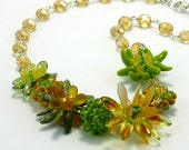 Green and Gold Beaded Fashion Necklace - Green Please