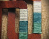 SAILOR STORY-Rectangular Large Wooden Earrings Wrapped in Ocean Hues Color Blocked Waxed Irish Linen