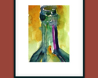 Wine Bottle Art Print -  from Original Watercolor - Page Size - 8.5 x 11
