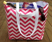 Beach Bag, Pink Chevron, Large Beach Tote, Summer Bag, Weekend Travel Bag, Teacher Tote