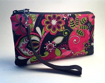 Wristlet, Small Purse, Clutch, Zipper Purse, Smarthphone Wallet, Smartphone Purse, Small Wrist Purse, iPhone Wallet, Bold Pink Floral
